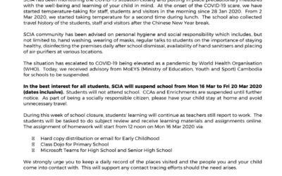 SCIA School Closure from Mon 16 March to Fri 20 March